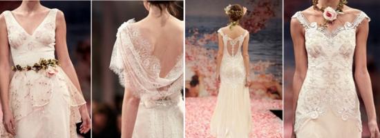 Flores, renda, tendências para vestidos de noiva
